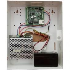X8IP beléptető vezérlő panel 210x260x68mm-es lemez dobozban + 1.5A-es tápegység és 4Aó akkumulátor.